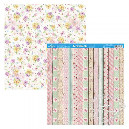 Papel Scrap Flores, Madeira, Textura, Estampas - Dupla Face 30,5x30,5 - 180g