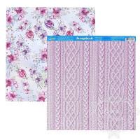 Papel Scrap Lã, Tricô, Flores - Dupla Face 30,5x30,5 - 180g