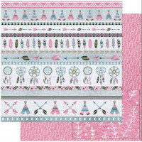 Papel Scrap Barrado Tribal Rosa e Cinza - dupla face 30,5x30,5 - 180g