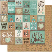 Papel Scrap Tags Tribais Marrom e Verde ..