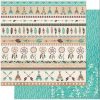 Papel Scrap Barrado Tribal Marrom e Verde - dupla face 30,5x30,5 - 180g