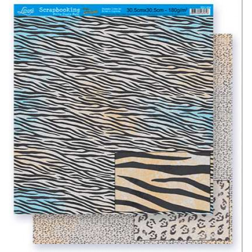 Papel Scrap Estampa Animal Print - dupla face 30,5x30,5 - 180g