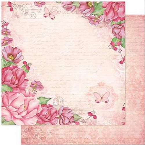 Papel Scrap Peônias Fundo Rosa - Dupla Face 30,5x30,5 - 180g