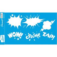 Stencil Balões Wow! Crash! Zap! Sobreposição - 21x34,4 cm