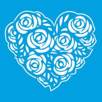 Stencil Coração de Rosas - 10x10 cm