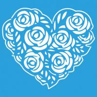 Stencil Coração de Rosas - 14x14 cm..