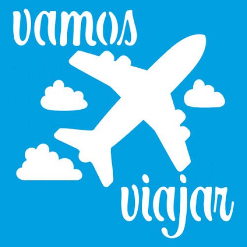 Stencil Avião, vamos viajar 14x14 cm