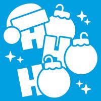 Stencil Natal - HO HO HO com Bolinhas de..