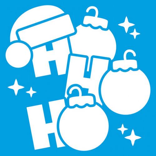 Stencil Natal - HO HO HO com Bolinhas de Natal 14x14 cm