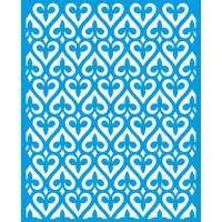 Stencil Estampa de corações em arabescos  - 17x21 cm