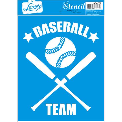 Stencil Emblema basebol - 17x21 cm