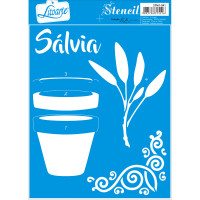 Stencil Sálvia - Sobreposição - 17x21 cm..