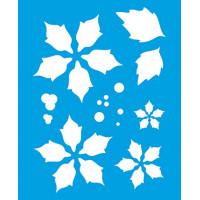 Stencil Natal - Poinsétias Sobreposição 17x21 cm