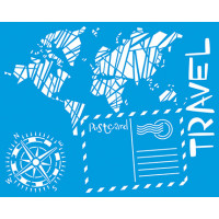 Stencil Travel, mapa, bússula... - 20x25 cm