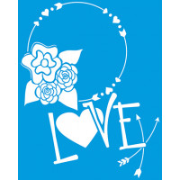 Stencil Guirlanda de Flores e Love - 20x25 cm