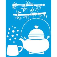 Stencil Chaleira, xícara de chá e bambu ..