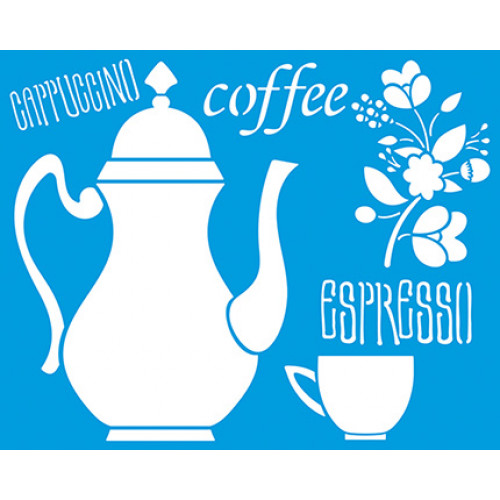 Stencil Bule e xícara de café - 20x25 cm