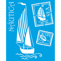 Stencil Náutico: Barco a vela e selos - 20x25 cm