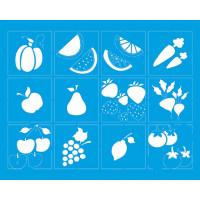 Stencil Legume e Frutas - Sobreposição - 20x25 cm