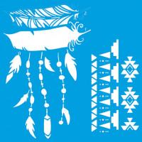 Stencil penas e estampa tribal - 20x20 c..