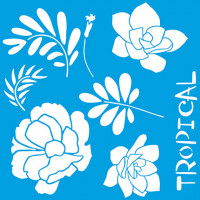Stencil flores e suculentas tropicais - ..