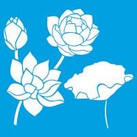 Stencil rosas, lótus e flores - 20x20 cm