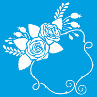 Stencil Arranjo de flores e molduras - 20x20 cm