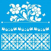 Stencil Flores, Azulejos portugueses - 20x20 cm