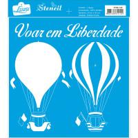 Stencil Balões de ar quente - Sobreposição - 20x20 cm
