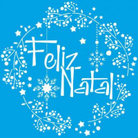 Stencil Natal - Guirlanda Feliz Natal 20x20 cm