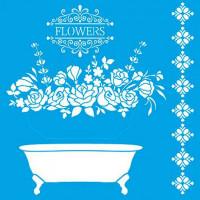 Stencil Banheira, Flores - Sobreposição - 25x25 cm
