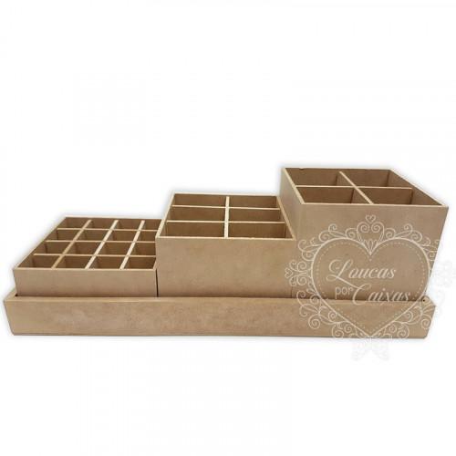 Trio de caixas sem gaveteiro - 13x34,7x11,8