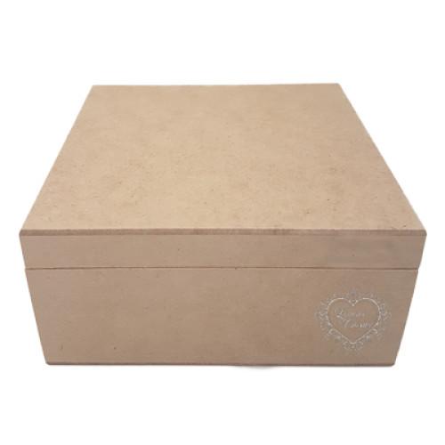 Caixa de Chá 4 div com Dobradiça 18x18x8 cm