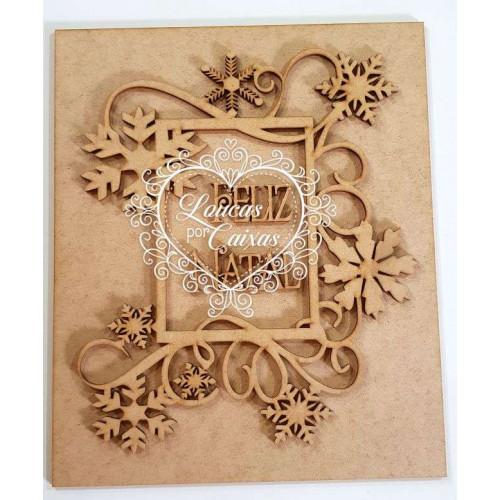 Kit feliz natal - placa, moldura flocos com arabescos e texto feliz natal