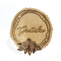 Placa e Moldura Floral - Gratidão - 14 x..