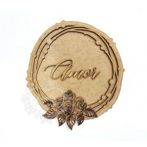 Placa e Moldura Floral - Amor - 14 x 14 cm - em MDF 3mm