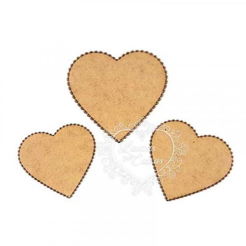 Kit de Placas Corações - Bordado Inglês - em MDF 3mm - 3 tamanhos