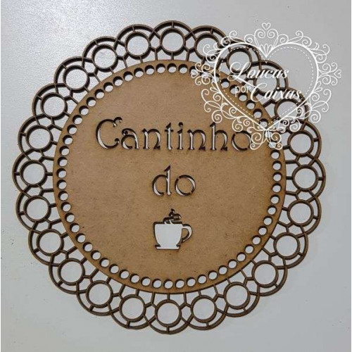 Placa mandala cantinho do café - 18x18