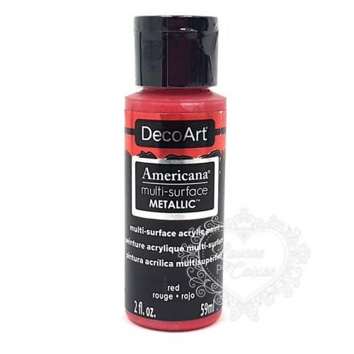Tinta Decoart Americana Multi-Surface Metalica Red