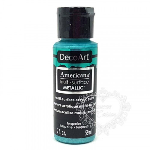 Tinta Decoart Americana Multi-Surface Metalica Tourquoise