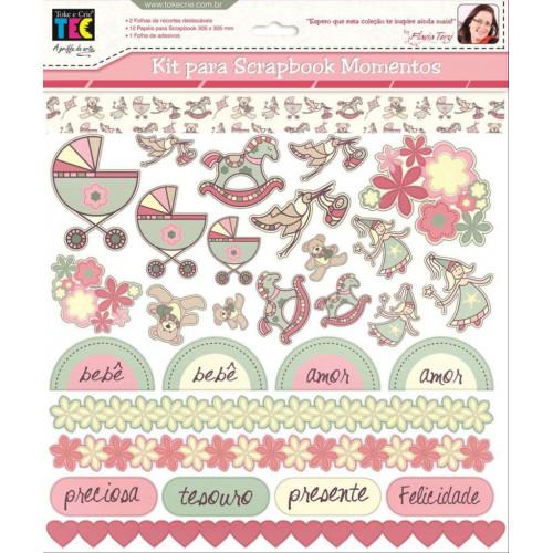 Kit Scrapbook Momentos Bebê Menina - by flávia terzi