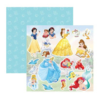 papel 180g dupla face princesas - 30.5 x 30.5