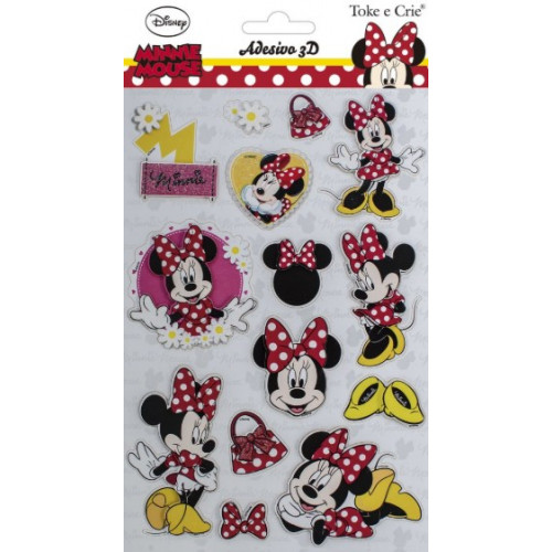 Adesivo 3d 14x21 cm minnie mouse
